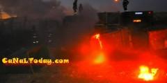 ملايين الخسـائر في حريق مستودع شاحنات الأزبـال بالناظور