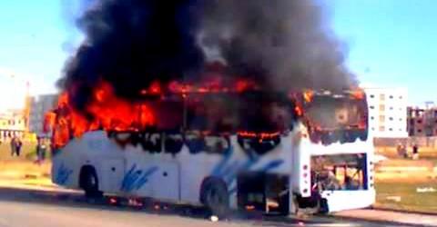 حريق بحافلة لنقل الركاب بسلا