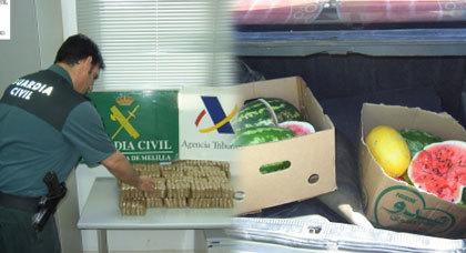 القبض على شخصين بمعبر مليلية حاولا تهريب المخدرات في صناديق البطيخ
