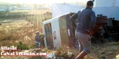 إنقلاب خطير لحافلة المغرب العربي بين بنقريش وتطوان