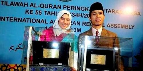الملك يهنئ هاجر بوساق بالجائزة الأولى لتجويد القرآن بماليزيا