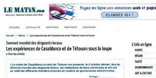 مؤتمر منظمة المدن والحكومات المحلية، تجارب مدينة تطوان و الدار البيضاء تحت المجهر