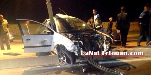 حادثة سير خطيرة إثر إصطدام قوي في منتصف الليل بين تطوان ومرتيل