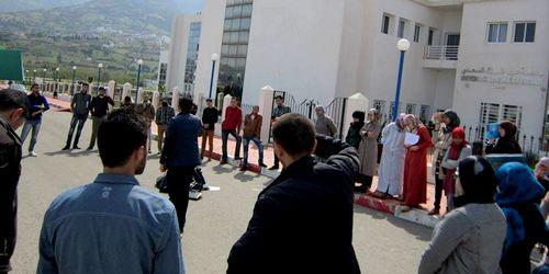 مسيرة 'غضب' بمقر رئاسة جامعة عبد المالك السعدي من تنظيم منظمة التجديد الطلابي بتطوان