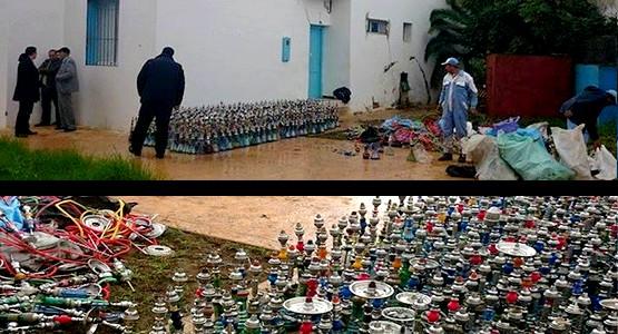 """إتلاف أزيد من ألف قنينة """"الشيشا"""" من طرف السلطات المحلية في مرتيل"""