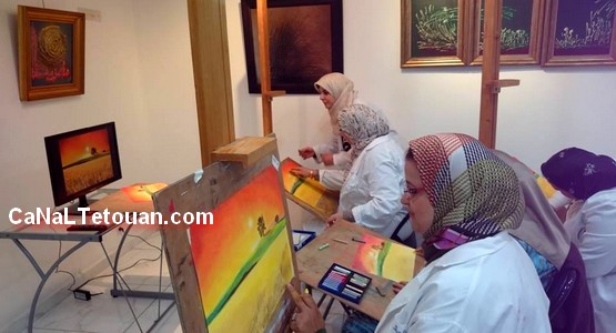 اقبال كبير على ورشة الفنانة التشكيلية نسرين الشودري بتطوان !