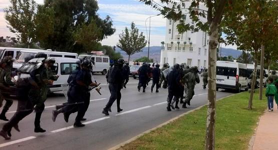 عاجل … اندلاع المواجهات بين القوات الأمنية والجماهير التطوانية (صور)