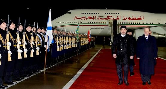 مراسيم وصول الملك محمد السادس الى روسيا (فيديو)