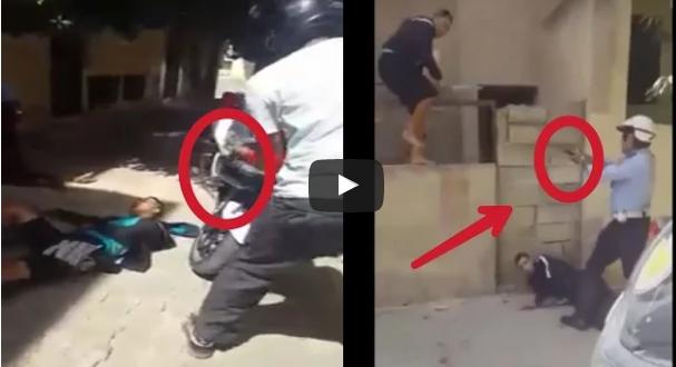 خطير .. لحظة إطلاق شرطي النار لإيقاف حاملي السيوف (شاهد الفيديو)