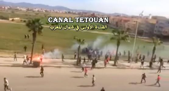 """استعمال """"الماء القاطع"""" في أحداث شغب الملاعب بالناظور (فيديو)"""