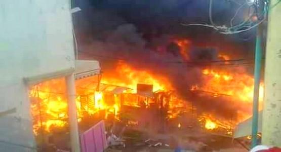 حريق مهول بسوق بئر الشفا بمدينة طنجة