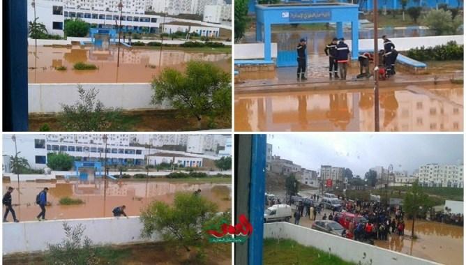 أمطار قليلة تغرق إعدادية بالمضيق ومديرها ينجو من الغرق (شاهد الصور)