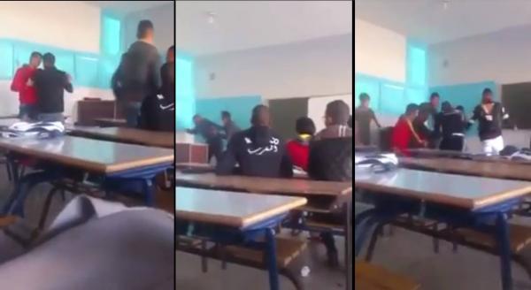 الاعتداء على أستاذ بالضرب من طرف التلميذ ..  و مديرية التعليم تتدخل ! (شاهد الفيديو)