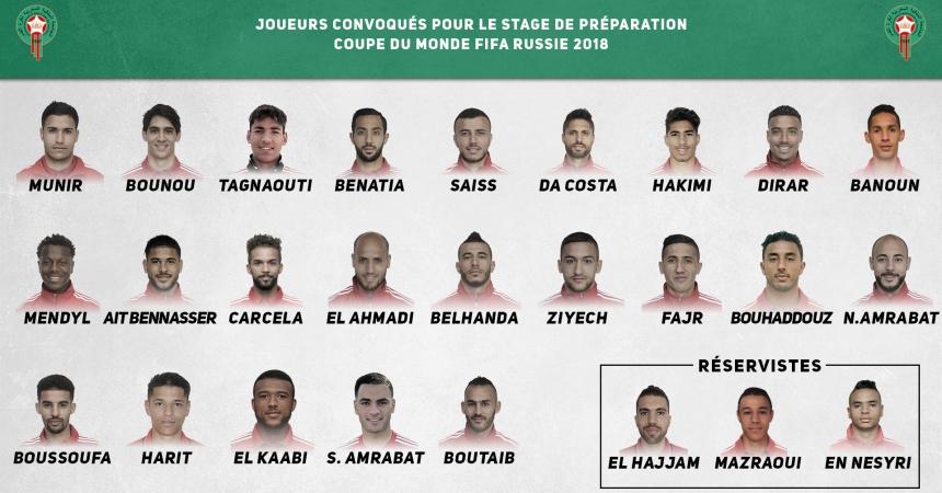 هذه هي اللائحة النهائية للاعبي المنتخب المغربي المشاركة في مونديال روسيا
