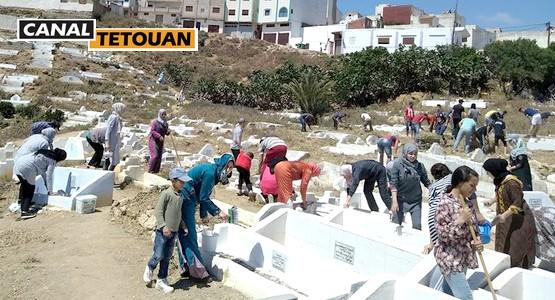 سكان حي كدية السبع بتطوان ينظمون حملة لتنظيف مقبرة الحي (شاهد الصور)