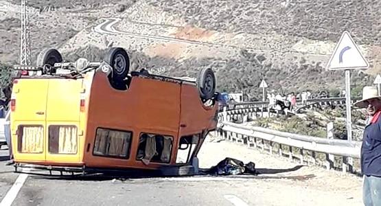حادثة سير خطيرة على الطريق الرابطة بين تطوان والجبهة (+صورة)