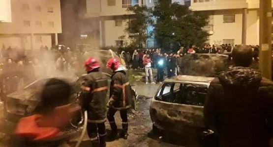 حريق مهول يلتهم سيارتين بطنجة