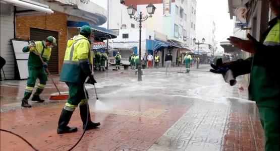 عملية تعقيم و تنظيف شارع محمد الخامس بمرتيل تصديا لانتشار وباء كورونا