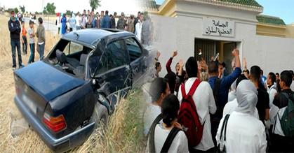 مسيرة غضب بالناظور بسبب حادثة سير خطيرة كادت تقتل طالبة بالثانوية