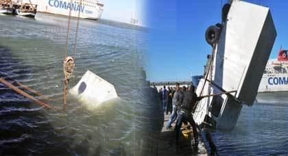 الرياح تتسبب في سقوط شاحنة بميناء الناظور