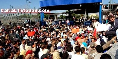 تجار معبر باب سبتة المحتلة في إضراب مفتوح …