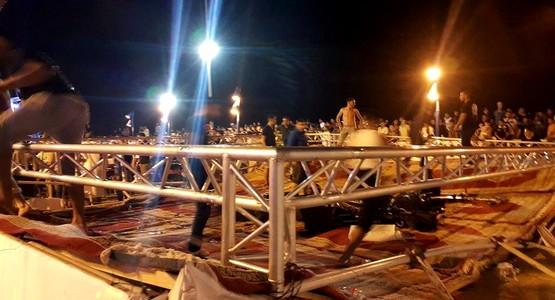 خطير .. سقوط المنصة المخصصة لمهرجان رمضان بالفنيدق (صور)