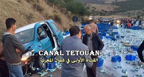 حادثة سير خطيرة بمنطقة عين الحصن بتطوان (شاهد الصور)