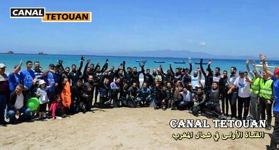 أبطال جمعية الغطس تحت الماء بالفنيدق ينظمون ورش إيكولوجي متميّز بشاطئ منطقة الدالية (+صور)
